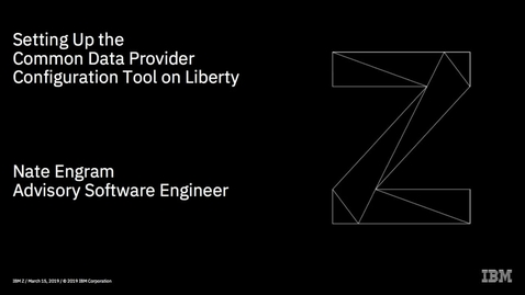 Thumbnail for entry Setting up the Common Data Provider configuration tool on Liberty