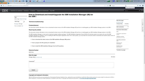 Thumbnail for entry How to Download and Install_Upgrade the IBM Installation Manager (IM) for the IBM i