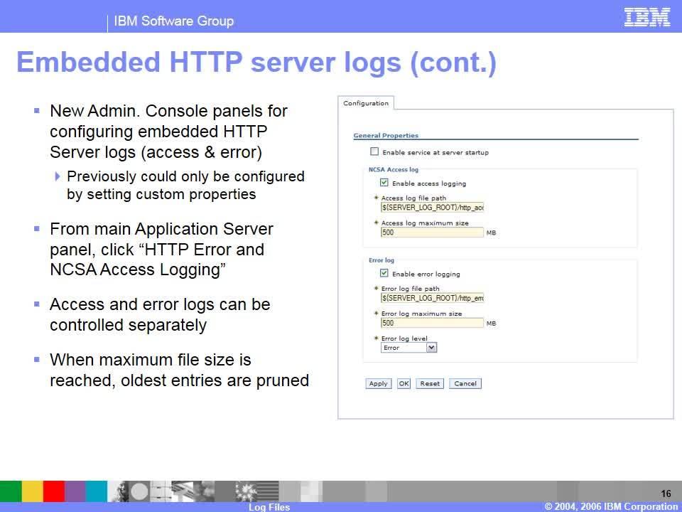 Log files overview - IBM MediaCenter