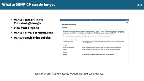 Thumbnail for entry z/OSMF Capacity Provisioning Tutorial