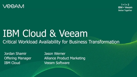 Thumbnail for entry Veeam critical data protection for IBM Cloud
