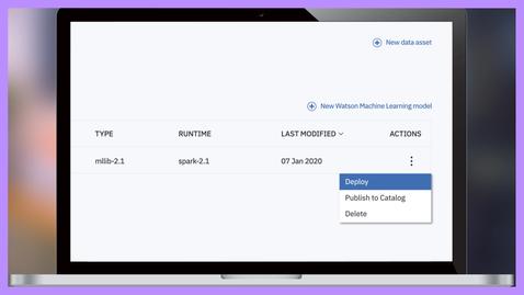 Thumbnail for entry Uruchamiaj modele AI za pomocą IBM Watson Machine Learning