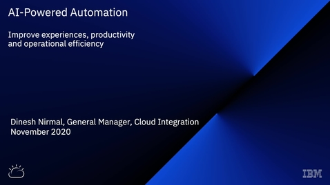 Thumbnail for entry Dinesh Nirmal Webinar - KI-gestützte Automatisierung