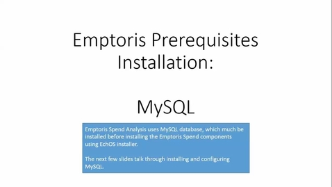 Thumbnail for entry Installing MySQL databases for Emptoris Spend Analysis.mp4