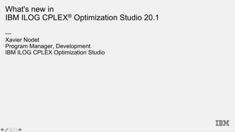 Thumbnail for entry What's new in CPLEX Optimization Studio 20.1