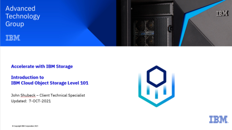 Thumbnail for entry Introduction to IBM Cloud Object Storage (COS) 10072021