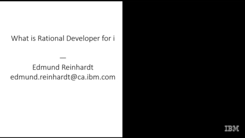 Thumbnail for entry IBM Rational Developer for i Demo