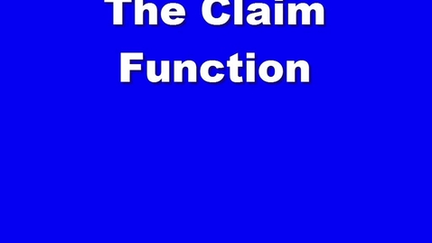 Thumbnail for entry The Claim Function