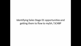 Thumbnail for entry Adjusting Sales Stage 01 opportunities in GPP for MySA deployment