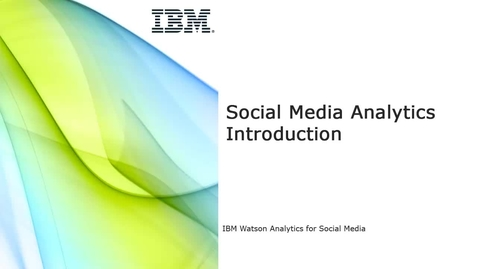 Thumbnail for entry Social Media Analytics Introduction