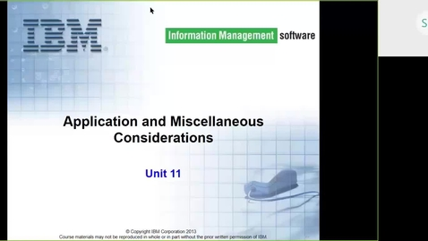 Thumbnail for entry Course CMW46 IMS HALDB Unit 11 (Application and Miscellaneous Considerations)
