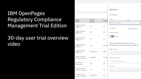 Thumbnail for entry IBM OpenPages Regulatory Compliance Management Trial Overview