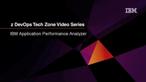 Thumbnail for entry IBM Application Performance Analyzer using Eclipse-based UI