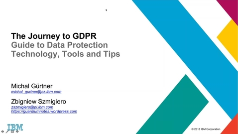 Thumbnail for entry The Journey to GDPR- Guide to Data Protection Technology, Tools and Tips-1