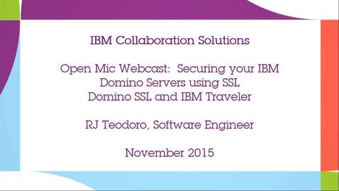 Thumbnail for entry IBM Domino SSL and IBM Traveler