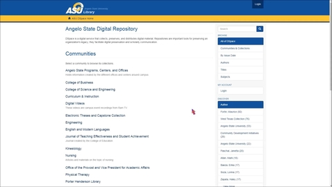 Thumbnail for entry Overview of Angelo State University Digital Repository for Faculty