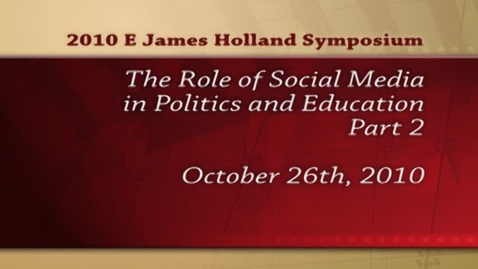 Thumbnail for entry Holland Symposium 2010 - Dr. James Katz