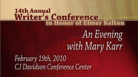 Thumbnail for entry Writer's Conference 2010 - Mary Karr