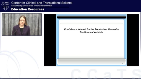 Confidence Interval for the Population Mean of a Continuous Variable