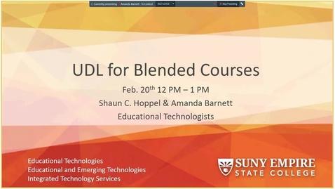 """Thumbnail for entry """"Understanding Universal Design for Blended Learning"""" Webinar"""