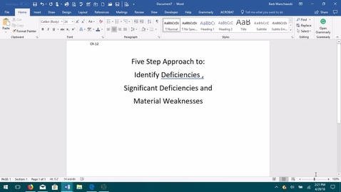 Thumbnail for entry AUDITING--M05 Five Step Approach to Identifying Deficiencies