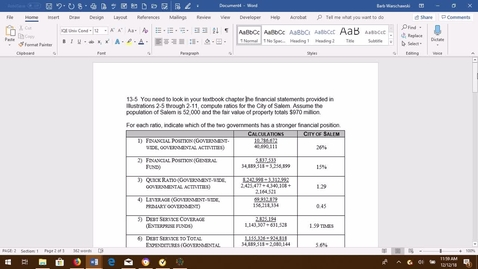 Thumbnail for entry GOVT ACCTG Ex 13-5 PROBLEM DEMO VIDEO (hard copy underneath this)