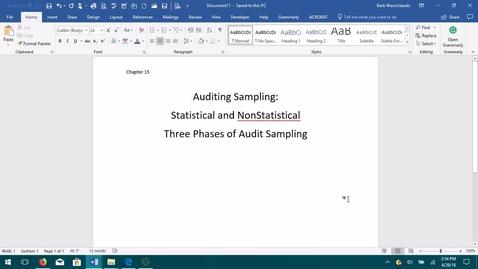 Thumbnail for entry AUDITING--M05 Auditing Sampling
