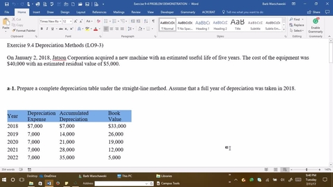 Thumbnail for entry 212054 Introductory Accounting 1 - M04 Exercise 9-4 Problem Demonstration