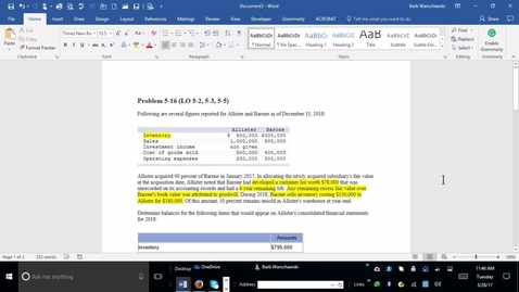 Thumbnail for entry 214014 Advanced Accounting - M02 PROBLEM 5-16