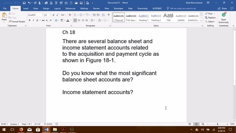 Thumbnail for entry AUDITING--M06 Balance Sheet & Income Statement Accounts Related to the Acquisition and Payment Cycle