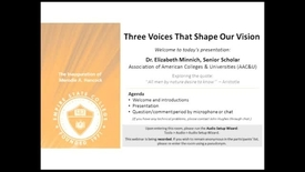 Thumbnail for entry Three Voices that Shape Our Vision: Dr. Elizibeth Minich, March 20, 2014