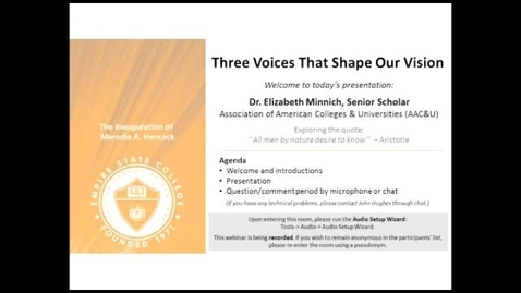 Thumbnail for entry Three Voices that Shape Our Vision: Dr. Elizibeth Minich, March 20, 2014