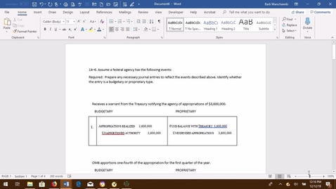 Thumbnail for entry GOVT ACCTG EX 14-6  PROBLEM DEMONSTRATION VIDEO