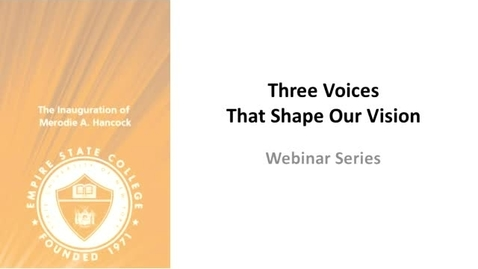 Thumbnail for entry Three Voices that Shape Our Vision: Dr. Elizibeth Minich, March 20, 2014 (Clip)