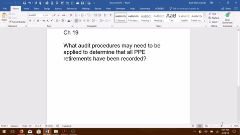 Thumbnail for entry AUDITING - M06 Audit Procedures for Property, Plant and Equipment Retirements