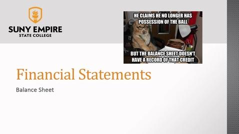 Thumbnail for entry Financial Statements: Balance Sheet