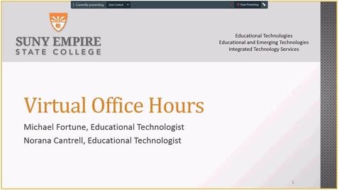 Thumbnail for entry EET Webinar Series  Hosting Virtual Office Hours - Thursday, August 23, 2018