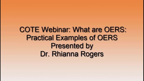 Thumbnail for entry SUNY COTE OER Webinar - Examples