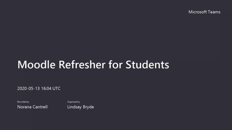 Thumbnail for entry Moodle Refresher for Students