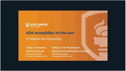 """Thumbnail for entry """"ADA Accessibility- It's the Law""""  Webinar"""