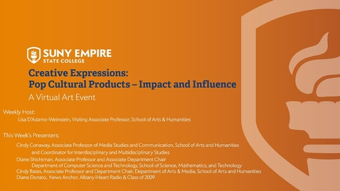 Thumbnail for entry Creative Expressions: Pop Culture Products - Impact and Influence - May 28, 2020