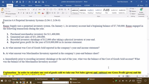 Thumbnail for entry 212054 Introductory Accounting 1 - M03 Exercise 6-4 PROBLEM DEMONSTRATION