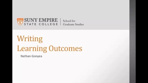 Thumbnail for entry Learning Outcomes