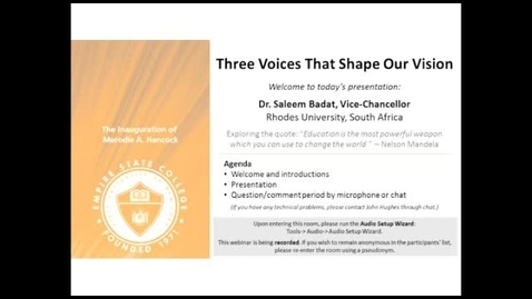 Thumbnail for entry Three Voices that Shape Our Vision: Dr. Saleem Badat March 6, 2014