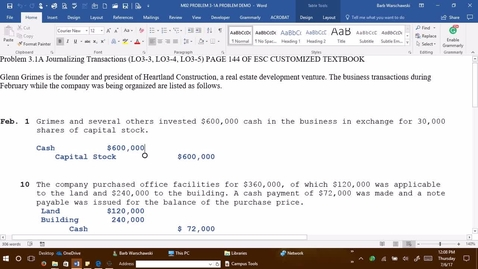Thumbnail for entry Introductory Accounting 1 - M2 PROBLEM 3-1A PROBLEM DEMONSTRATION