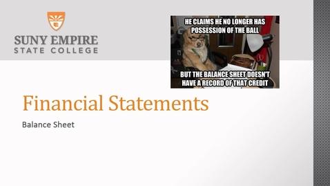Thumbnail for entry financial statements balance sheet