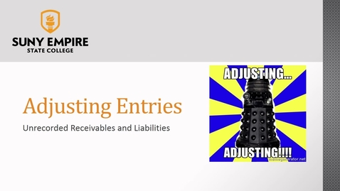 Thumbnail for entry Adjusting Entries: Unrecorded Receivables