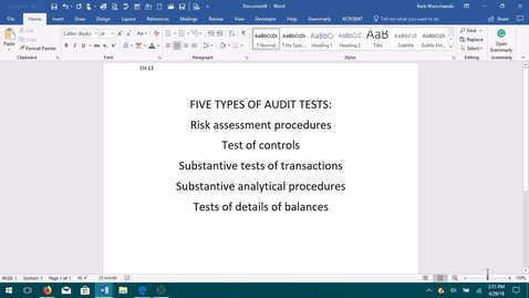 Thumbnail for entry AUDITING--M05 Five Types of Audit Tests