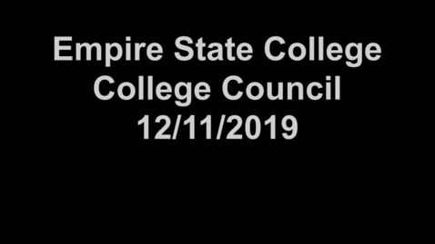 Thumbnail for entry College Council Meeting - December 11, 2019