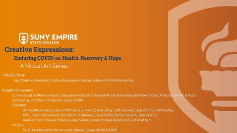 Thumbnail for entry Creative Expressions: Enduring COVID-19: Health, Recovery & Hope - June 18, 2020